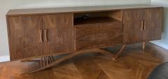 Adesso Studio Custom Mid Century Style Walnut Sideboard with Curved Leg - 1498883