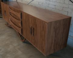 Adesso Studio Custom Mid Century Style Walnut Sideboard with Curved Leg and Three Drawers - 1589467