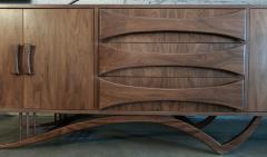 Adesso Studio Custom Mid Century Style Walnut Sideboard with Curved Leg and Three Drawers - 1589471