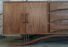 Adesso Studio Custom Mid Century Style Walnut Sideboard with Curved Leg and Three Drawers - 1589472
