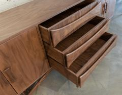 Adesso Studio Custom Mid Century Style Walnut Sideboard with Curved Leg and Three Drawers - 1589473