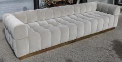 Adesso Studio Custom Oscar Tufted Grey Velvet Sofa with Brass Base - 1991286