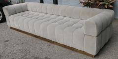 Adesso Studio Custom Oscar Tufted Grey Velvet Sofa with Brass Base - 1991287