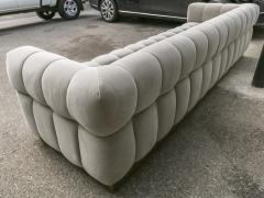 Adesso Studio Custom Oscar Tufted Grey Velvet Sofa with Brass Base - 1991289