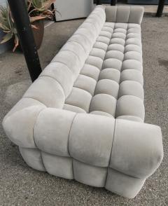 Adesso Studio Custom Oscar Tufted Grey Velvet Sofa with Brass Base - 1991290