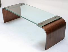 Adesso Studio Custom Rectangular Rosewood and Glass Coffee Table - 1107416