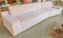 Adesso Studio Custom Sectional Sofa in Blush Pink Velvet with Maple Wood Base - 1732389