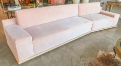 Adesso Studio Custom Sectional Sofa in Blush Pink Velvet with Maple Wood Base - 1732392