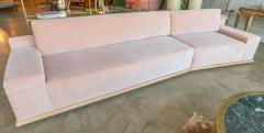 Adesso Studio Custom Sectional Sofa in Blush Pink Velvet with Maple Wood Base - 1732393