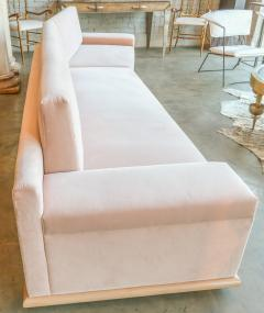 Adesso Studio Custom Sectional Sofa in Blush Pink Velvet with Maple Wood Base - 1732395