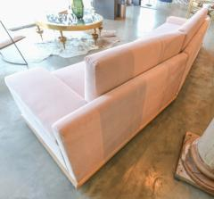 Adesso Studio Custom Sectional Sofa in Blush Pink Velvet with Maple Wood Base - 1732396