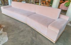 Adesso Studio Custom Sectional Sofa in Blush Pink Velvet with Maple Wood Base - 1732398