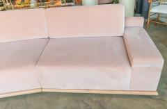 Adesso Studio Custom Sectional Sofa in Blush Pink Velvet with Maple Wood Base - 1732399