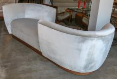 Adesso Studio Custom Tete a Tete Sofa Bench in Grey Velvet with Walnut Base by Adesso Imports - 1793119