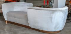 Adesso Studio Custom Tete a Tete Sofa Bench in Grey Velvet with Walnut Base by Adesso Imports - 1793122