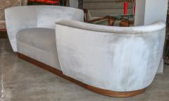 Adesso Studio Custom Tete a Tete Sofa Bench in Grey Velvet with Walnut Base by Adesso Imports - 1793124