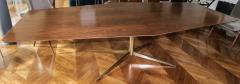 Adesso Studio Custom Walnut Pedestal Dining Table with Brass Leg - 1029418