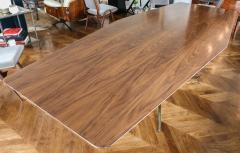 Adesso Studio Custom Walnut Pedestal Dining Table with Brass Leg - 1029420