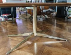 Adesso Studio Custom Walnut Pedestal Dining Table with Brass Leg - 1029421