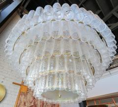 Adesso Studio Large Custom Tiered Murano Chandelier with Clear Glass Tubes - 1662851