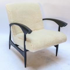 Adesso Studio Pair of Custom Black Matte Oak Armchairs in Ivory Wool - 1177825