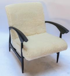 Adesso Studio Pair of Custom Black Matte Oak Armchairs in Ivory Wool - 1177826