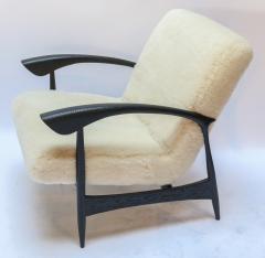 Adesso Studio Pair of Custom Black Matte Oak Armchairs in Ivory Wool - 1177827