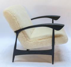 Adesso Studio Pair of Custom Black Matte Oak Armchairs in Ivory Wool - 1177828