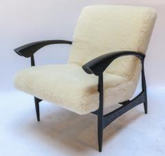 Adesso Studio Pair of Custom Black Matte Oak Armchairs in Ivory Wool - 1177829