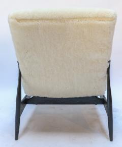 Adesso Studio Pair of Custom Black Matte Oak Armchairs in Ivory Wool - 1177830