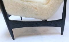 Adesso Studio Pair of Custom Black Matte Oak Armchairs in Ivory Wool - 1177831