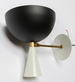Adesso Studio Pair of Custom Brass and Black Metal Mid Century Style Sconces by Adesso Imports - 2007805