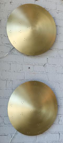 Adesso Studio Pair of Custom Perforated Metal Brass Conical Convex Sconces - 1498966