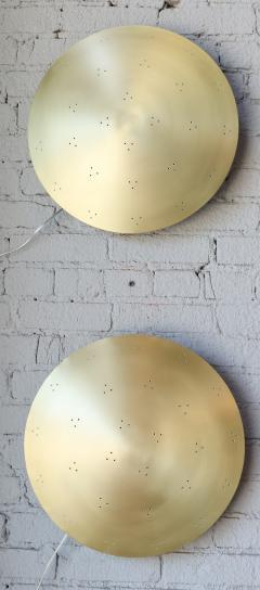 Adesso Studio Pair of Custom Perforated Metal Brass Conical Convex Sconces - 1498967