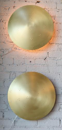 Adesso Studio Pair of Custom Perforated Metal Brass Conical Convex Sconces - 1498972
