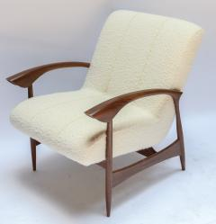 Adesso Studio Pair of Custom Walnut Armchairs in Ivory Boucle - 1118911