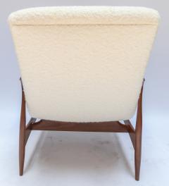 Adesso Studio Pair of Custom Walnut Armchairs in Ivory Boucle - 1118913