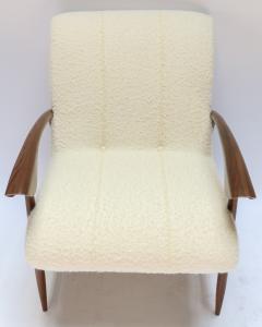 Adesso Studio Pair of Custom Walnut Armchairs in Ivory Boucle - 1118915