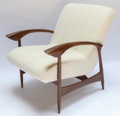 Adesso Studio Pair of Custom Walnut Armchairs in Ivory Boucle - 1118916