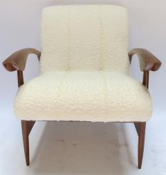 Adesso Studio Pair of Custom Walnut Armchairs in Ivory Boucle - 1118917