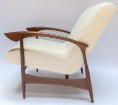 Adesso Studio Pair of Custom Walnut Armchairs in Ivory Boucle - 1118918