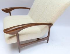 Adesso Studio Pair of Custom Walnut Armchairs in Ivory Boucle - 1118919