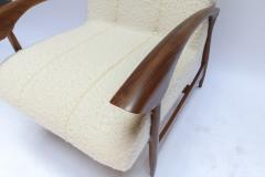 Adesso Studio Pair of Custom Walnut Armchairs in Ivory Boucle - 1118920