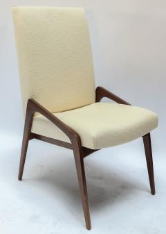 Adesso Studio Set of Ten Custom Mid Century Style Walnut Dining Chairs in Ivory Linen - 1140916