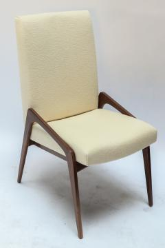 Adesso Studio Set of Ten Custom Mid Century Style Walnut Dining Chairs in Ivory Linen - 1140918