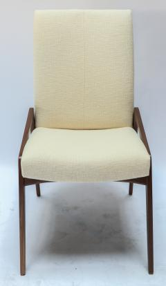 Adesso Studio Set of Ten Custom Mid Century Style Walnut Dining Chairs in Ivory Linen - 1140921