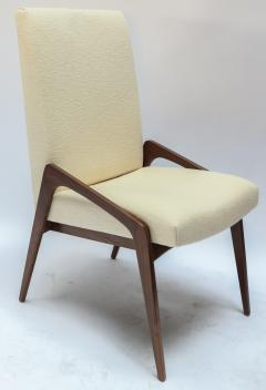 Adesso Studio Set of Ten Custom Mid Century Style Walnut Dining Chairs in Ivory Linen - 1140922