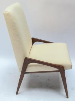 Adesso Studio Set of Ten Custom Mid Century Style Walnut Dining Chairs in Ivory Linen - 1140925