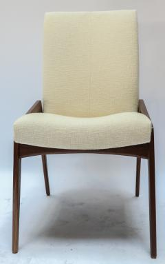 Adesso Studio Set of Ten Custom Mid Century Style Walnut Dining Chairs in Ivory Linen - 1140926