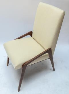 Adesso Studio Set of Ten Custom Mid Century Style Walnut Dining Chairs in Ivory Linen - 1140927